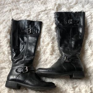 Tall Faux Leather Boots Black w/ Silver Hardware